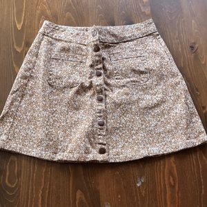 Patterned jean mini skirt
